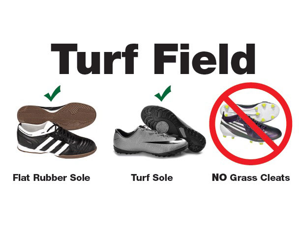 Turf Field foot wear are Flat Rubber soles and turf soles. Grass cleats not allowed.