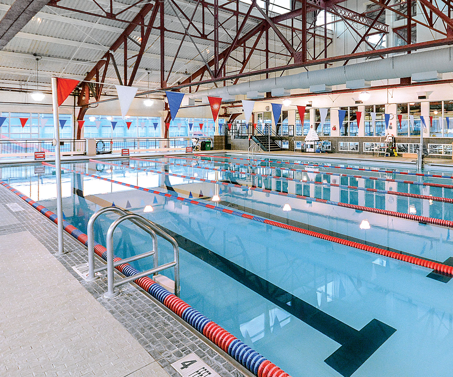 75 foot indoor swimming pool for lap swim and training.