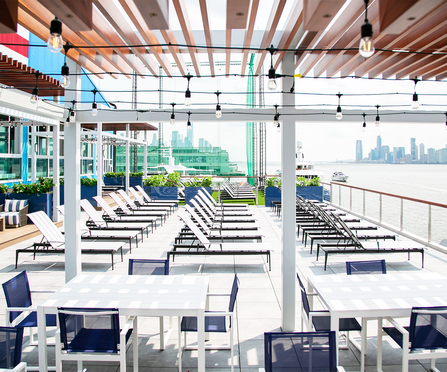 Hudson River sundeck at Chelsea Piers Fitness in Manhattan.