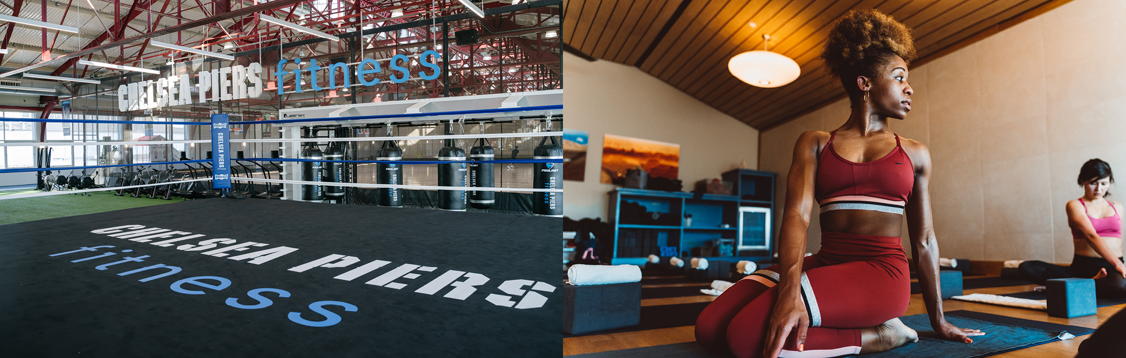 Chelsea Piers Fitness Members in the sundeck and Yoga studion