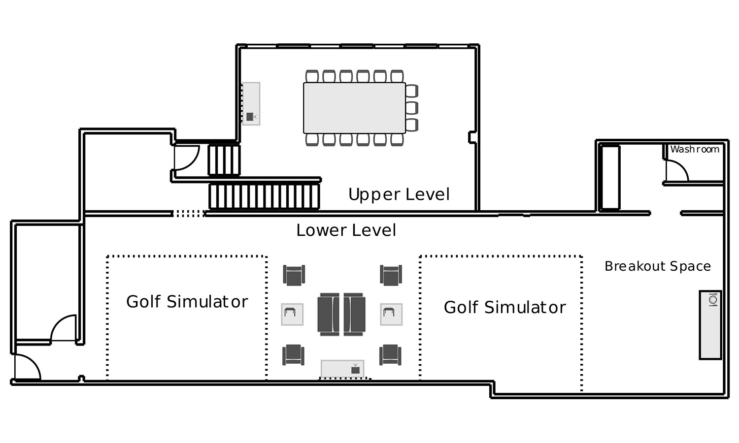 Floor plans chelsea piers nyc for Golf simulator room dimensions