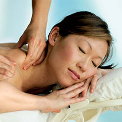 Female getting deep tissue massage at Chelsea Piers Fitness