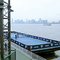 In 2009, a United States Tennis Association event tied to the US Open brought tennis legend Billy Jean King to Chelsea Piers for a barge-based tennis match off Pier 59.